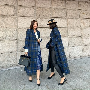 AAV X Minimore Harris Tweed Blue Check Coat